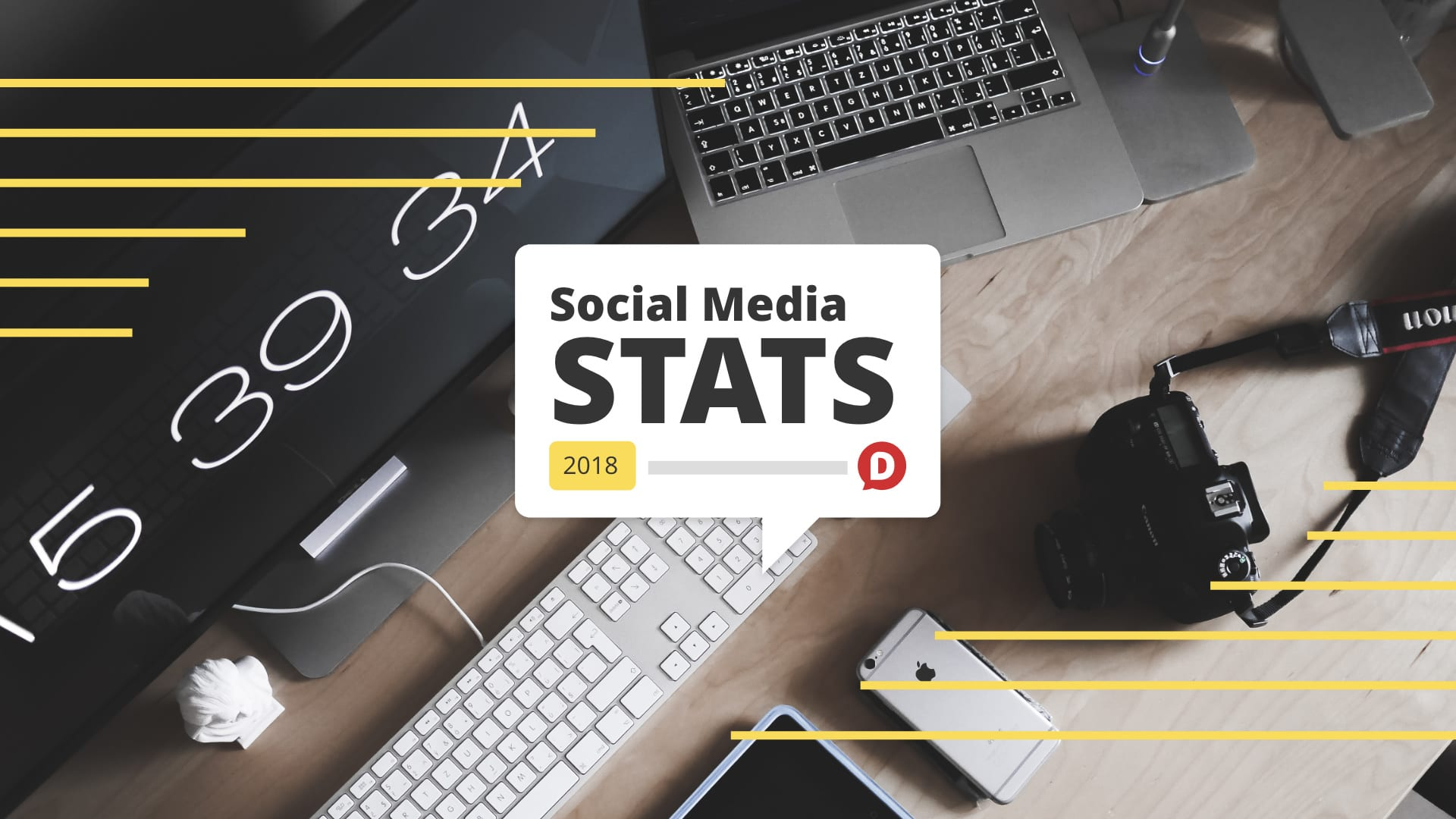 Computer desk with Tall image with social media stats 2018