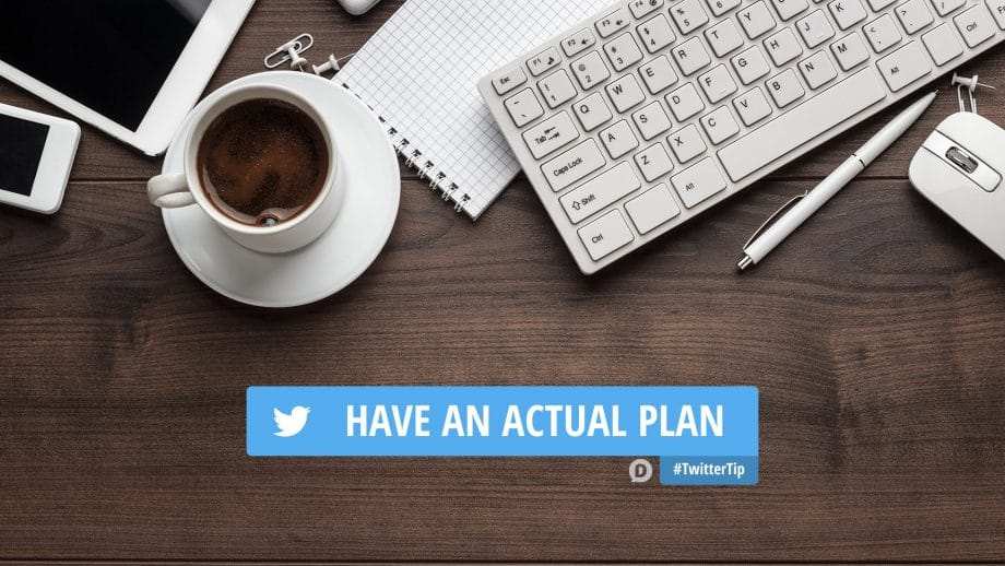 desk with keyboard, coffee, notepad and how to use twitter tip