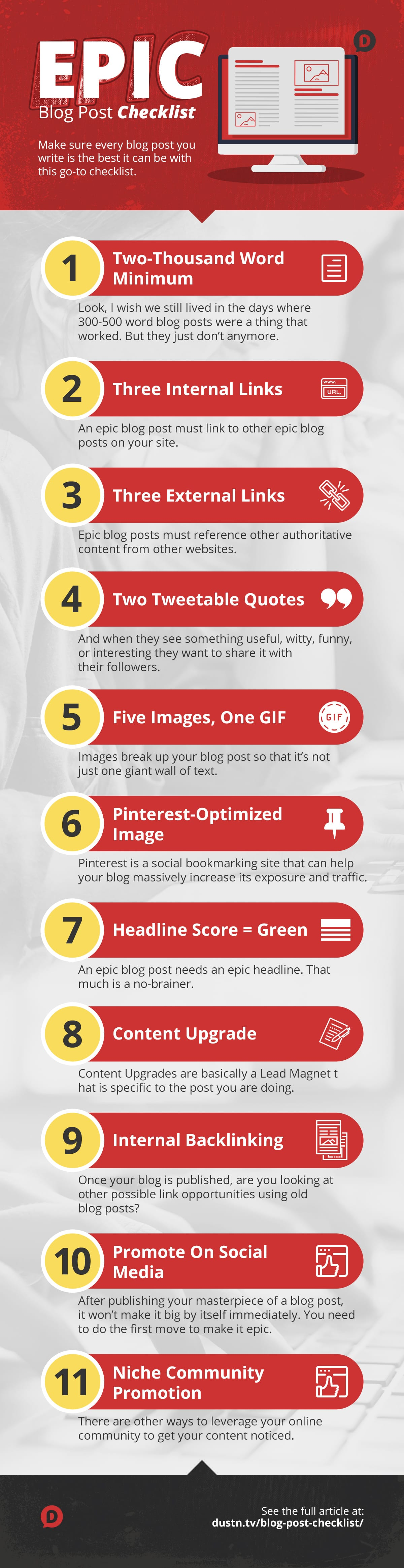 Blog post checklist infographic