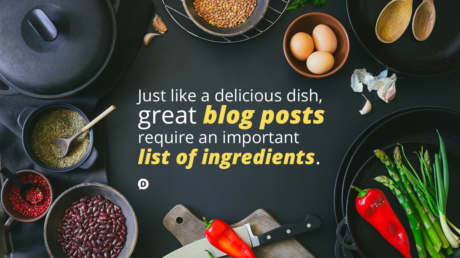 food ingredients laid out with blogging quote