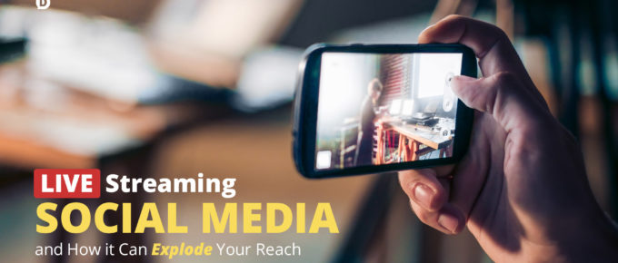 live streaming social media hand holding phone
