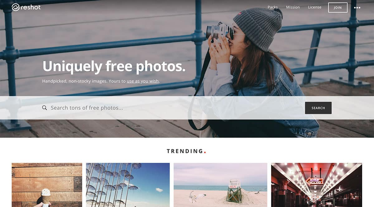 reshot free photos screenshot