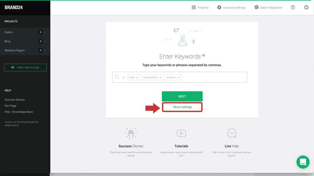 brand24 new project more settings screenshot