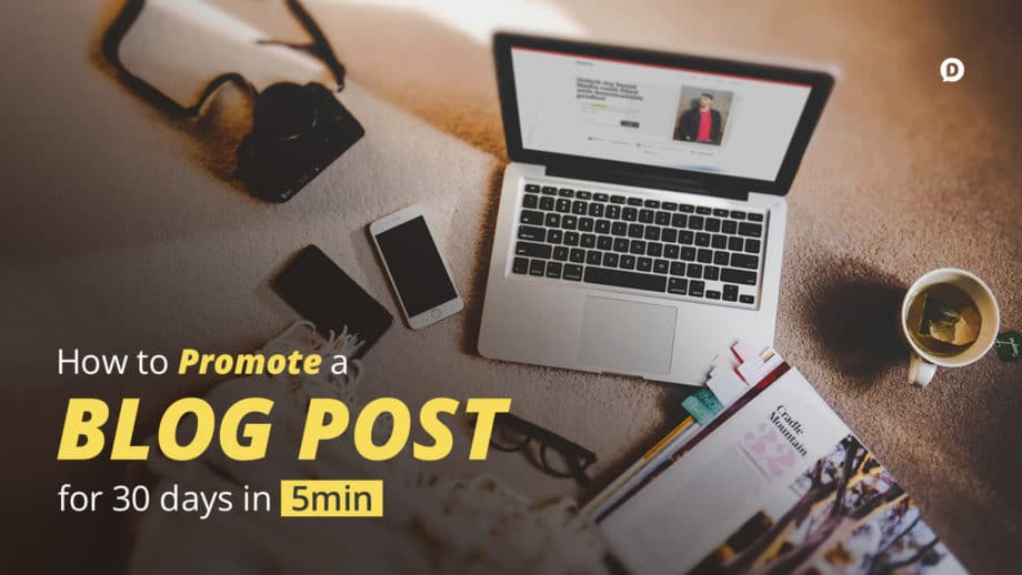 how to promote a blog post laptop on desk