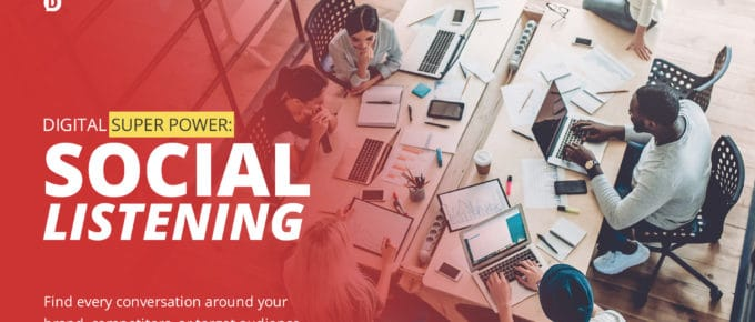 social listening title with group of people working at a desk